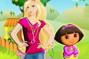 Play Barbie and Baby Dora